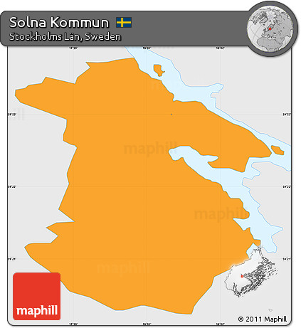 Free Political Simple Map Of Solna Kommun Single Color Outside - Sweden map solna