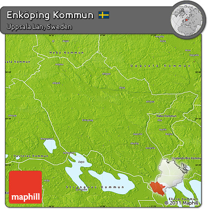 Free Physical Map Of Enköping Kommun - Sweden kommun map