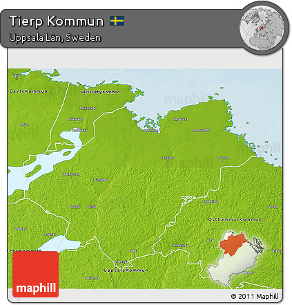 Free Physical D Map Of Tierp Kommun - Sweden kommun map