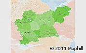 Political Shades 3D Map of Västmanlands Län, lighten