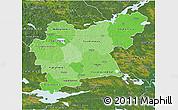 Political Shades 3D Map of Västmanlands Län, satellite outside