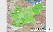 Political Shades 3D Map of Västmanlands Län, semi-desaturated