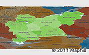 Political Shades Panoramic Map of Västmanlands Län, darken