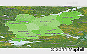 Political Shades Panoramic Map of Västmanlands Län, satellite outside