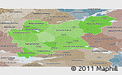 Political Shades Panoramic Map of Västmanlands Län, semi-desaturated