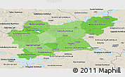 Political Shades Panoramic Map of Västmanlands Län, shaded relief outside