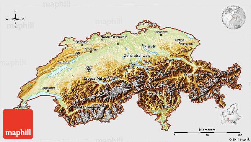 Physical 3D Map of Switzerland cropped outside
