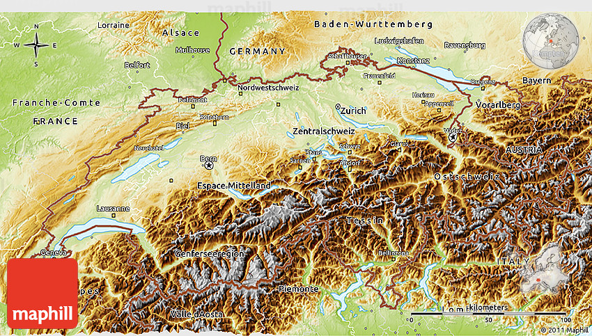 Physical 3D Map of Switzerland