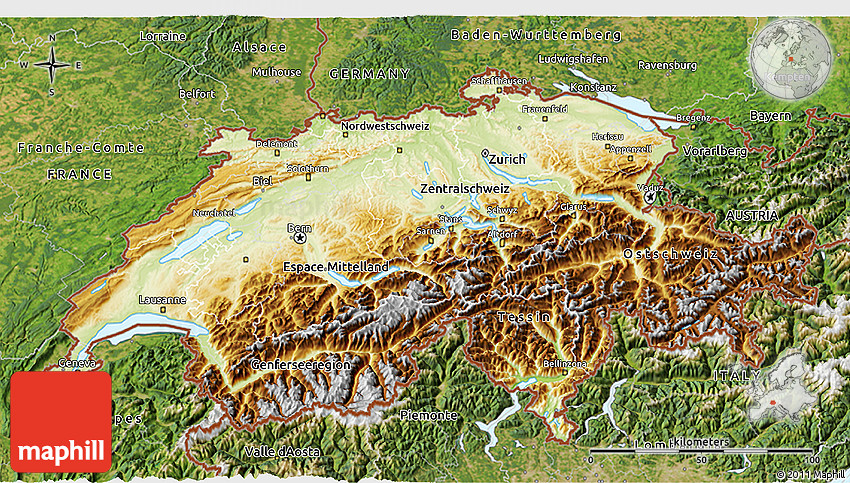 Physical 3D Map of Switzerland satellite outside