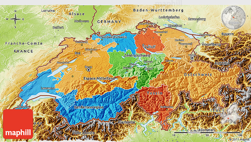 Political 3D Map of Switzerland physical outside