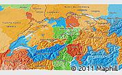 Political 3D Map of Switzerland