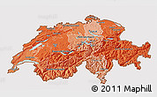 Political Shades 3D Map of Switzerland, cropped outside