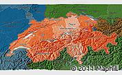 Political Shades 3D Map of Switzerland, darken