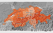Political Shades 3D Map of Switzerland, desaturated