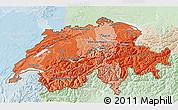 Political Shades 3D Map of Switzerland, lighten
