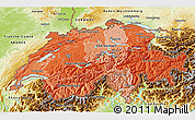 Political Shades 3D Map of Switzerland, physical outside