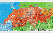 Political Shades 3D Map of Switzerland