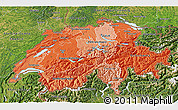 Political Shades 3D Map of Switzerland, satellite outside