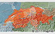 Political Shades 3D Map of Switzerland, semi-desaturated