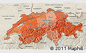 Political Shades 3D Map of Switzerland, shaded relief outside