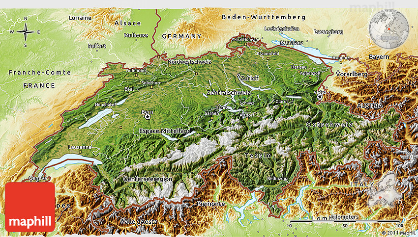 Satellite 3D Map of Switzerland physical outside