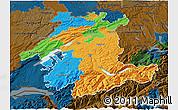 Political 3D Map of Espace Mittelland, darken