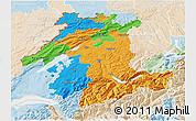 Political 3D Map of Espace Mittelland, lighten