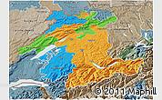 Political 3D Map of Espace Mittelland, semi-desaturated