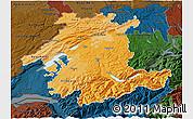Political Shades 3D Map of Espace Mittelland, darken