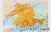 Political Shades 3D Map of Espace Mittelland, lighten