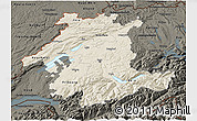 Shaded Relief 3D Map of Espace Mittelland, darken
