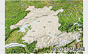 Shaded Relief 3D Map of Espace Mittelland, satellite outside