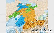 Political Map of Espace Mittelland, lighten