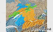 Political Map of Espace Mittelland, semi-desaturated