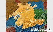 Political Shades Map of Espace Mittelland, darken