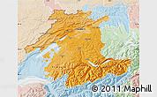 Political Shades Map of Espace Mittelland, lighten