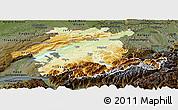Physical Panoramic Map of Espace Mittelland, darken