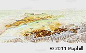 Physical Panoramic Map of Espace Mittelland, lighten