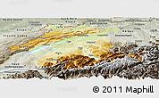 Physical Panoramic Map of Espace Mittelland, semi-desaturated