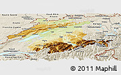 Physical Panoramic Map of Espace Mittelland, shaded relief outside