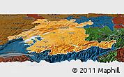 Political Shades Panoramic Map of Espace Mittelland, darken