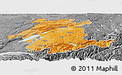 Political Shades Panoramic Map of Espace Mittelland, desaturated