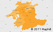 Political Shades Simple Map of Espace Mittelland, single color outside