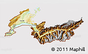Physical 3D Map of Genferseeregion, cropped outside