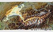 Physical 3D Map of Genferseeregion, darken