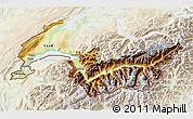 Physical 3D Map of Genferseeregion, lighten