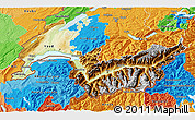 Physical 3D Map of Genferseeregion, political outside
