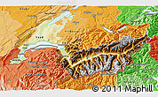 Physical 3D Map of Genferseeregion, political shades outside