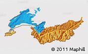 Political 3D Map of Genferseeregion, cropped outside