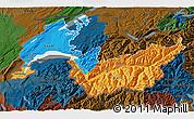 Political 3D Map of Genferseeregion, darken
